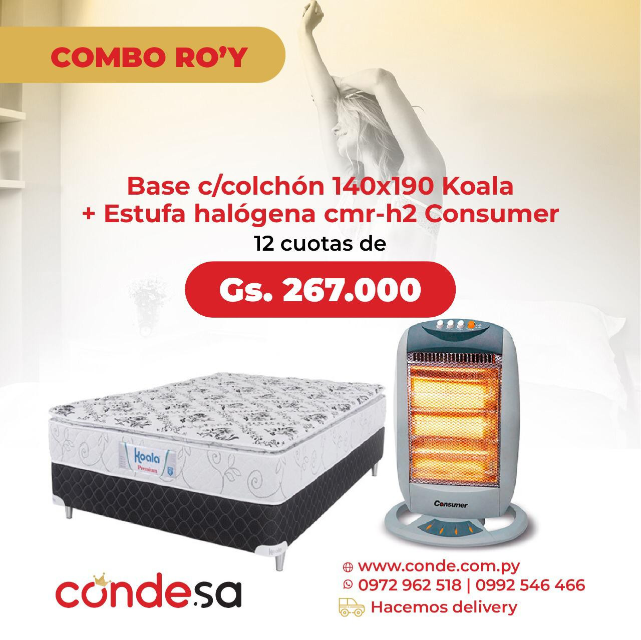 BASE C/ COLCHON 140X190 PT KOALADOR + ESTUFA HALOGENA CONSUMER