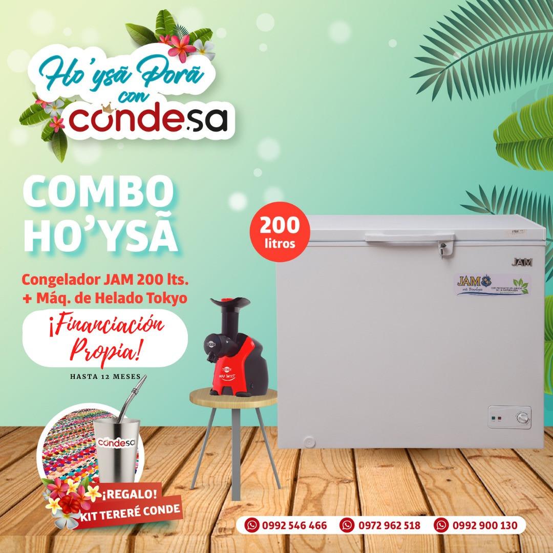COMBO CONGELADOR + MAQUINA DE HELADOS