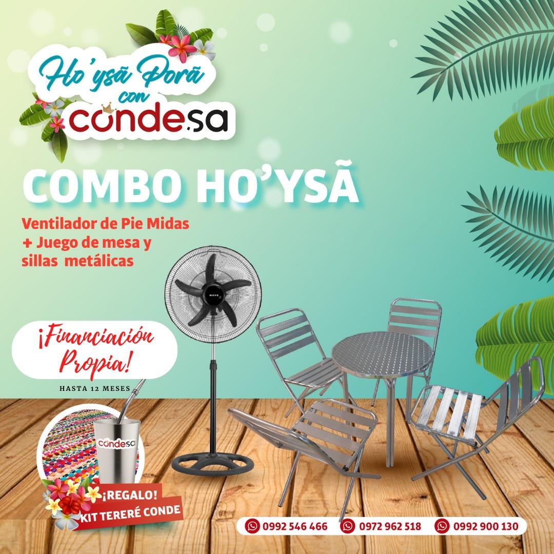 COMBO MESA + SILLAS + VENTILADOR DE PIE