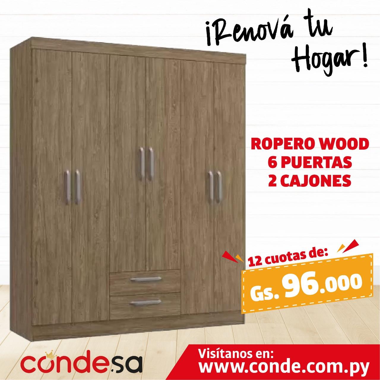 ROPERO WOOD 6P 2 CAJONES