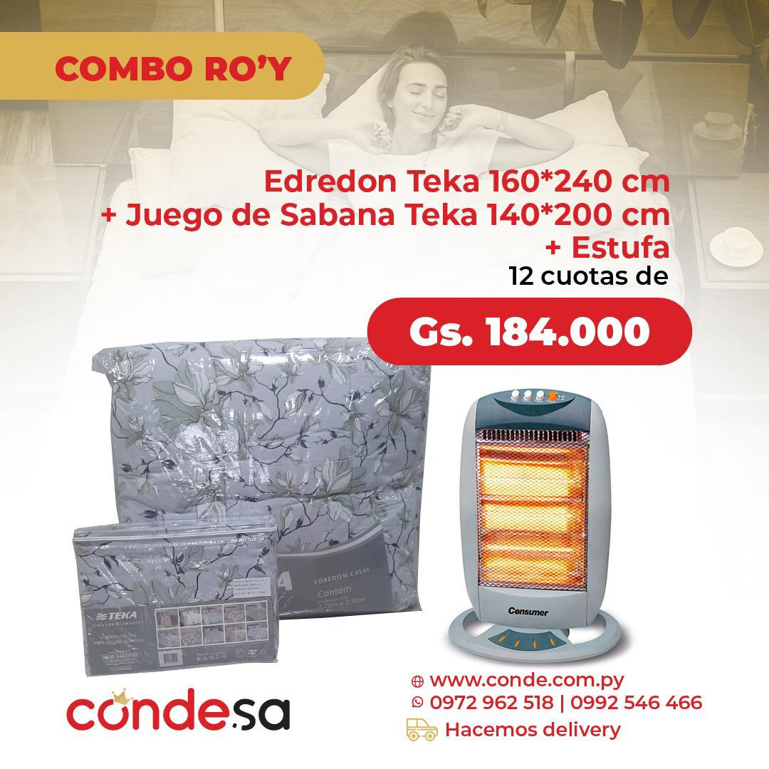 EDREDON TEKA + JUEGO DE SABANAS TEKA + ESTUFA CONSUMER